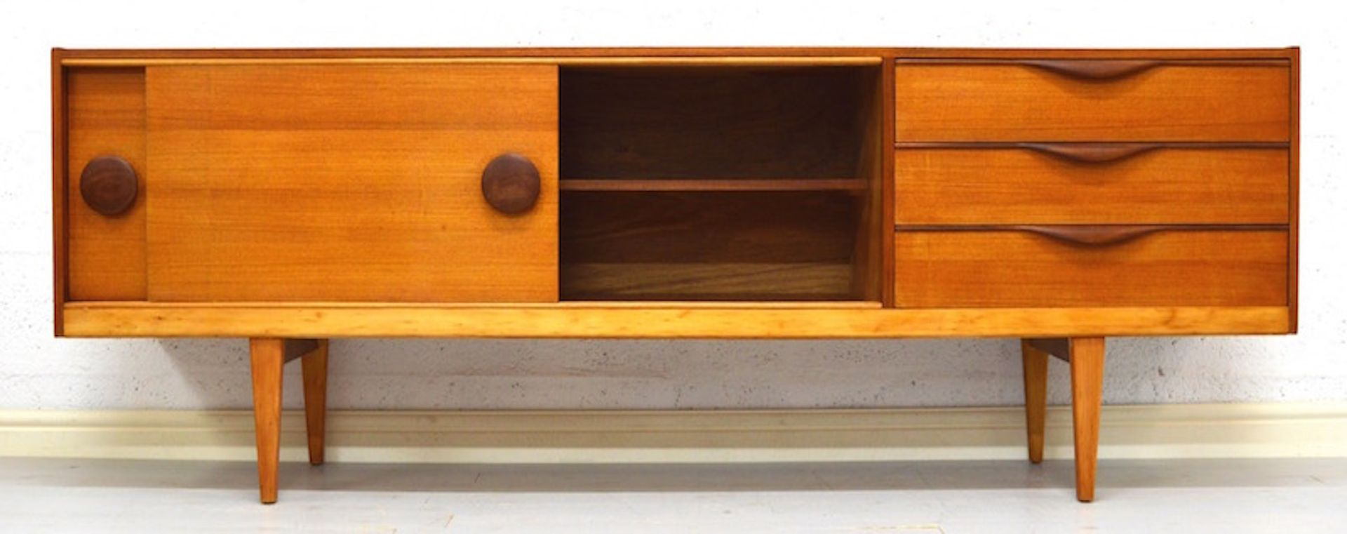 British teak sideboard with circular handles 1960s for for Sideboard qr