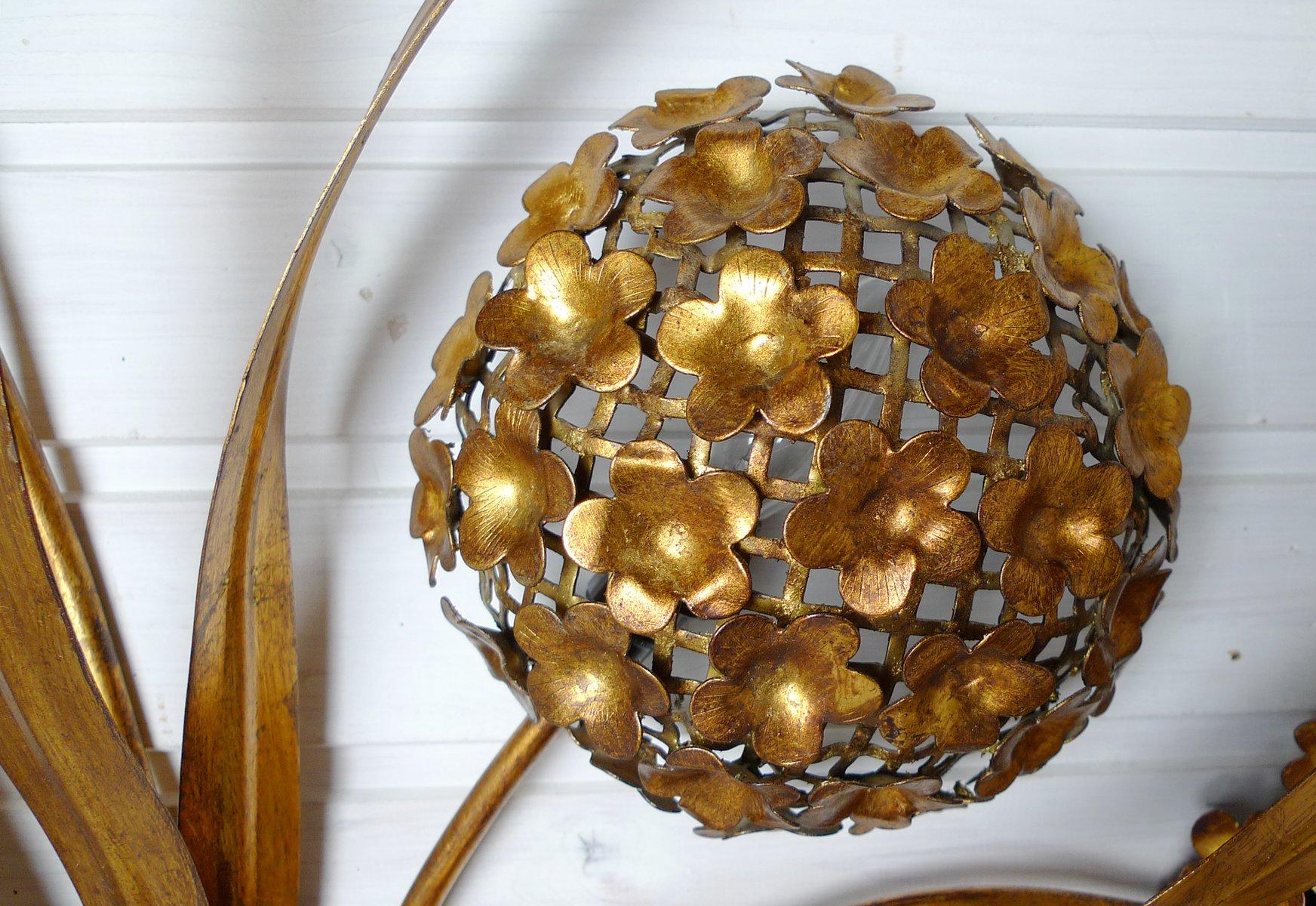 florale vintage wandlampe aus blattgold bei pamono kaufen. Black Bedroom Furniture Sets. Home Design Ideas