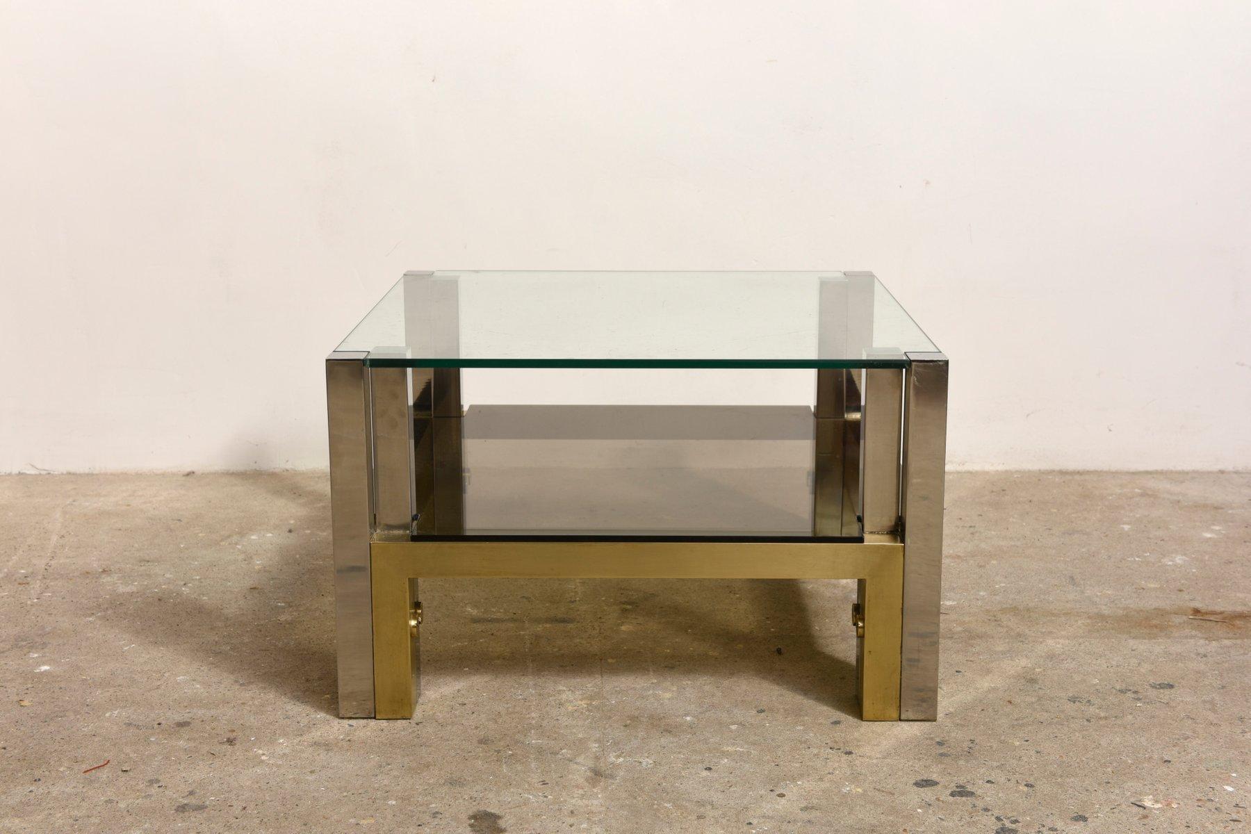 couchtisch aus messing mit glasplatte und ablage von willy. Black Bedroom Furniture Sets. Home Design Ideas