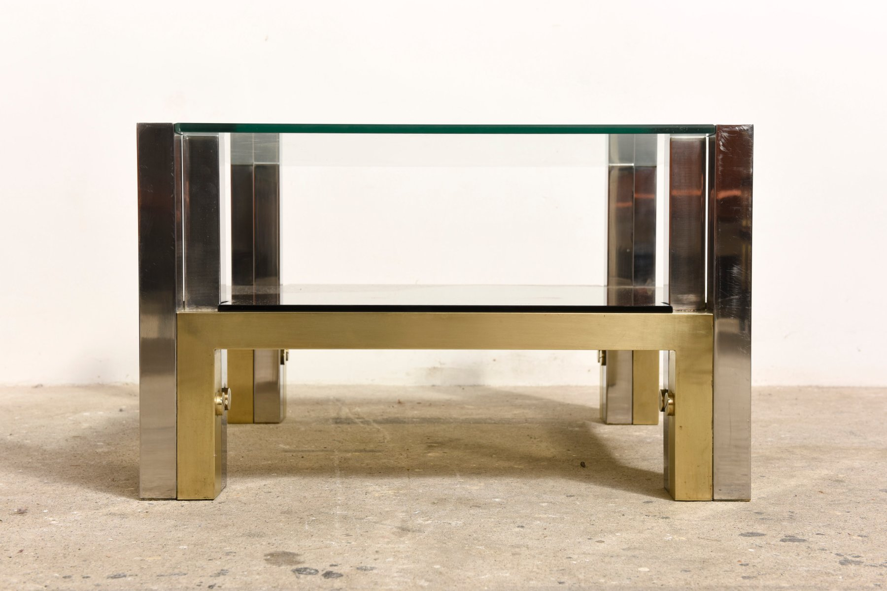Two Tiered Brass & Glass Coffee Table by Willy Rizzo 1960s for