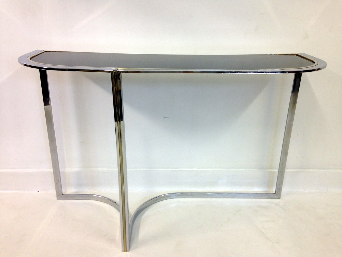 Vintage Chrome U0026 Black Glass Console Table