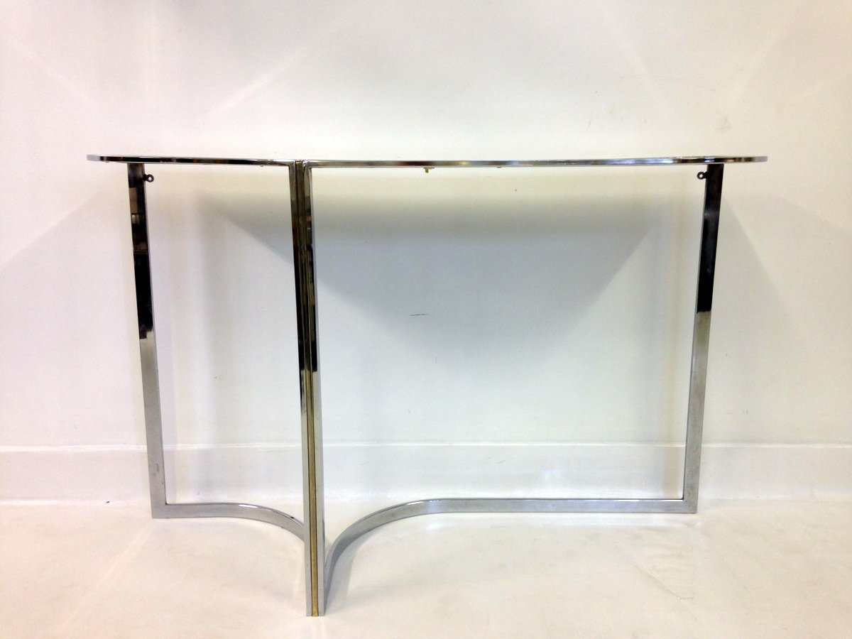 Vintage chrome black glass console table for sale at pamono geotapseo Choice Image
