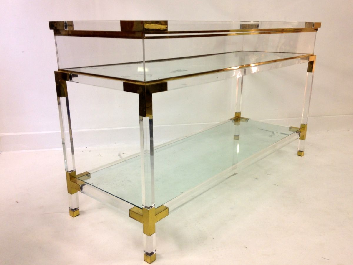 Italian lucite and brass vitrine console table 1970s for for Table vitrine