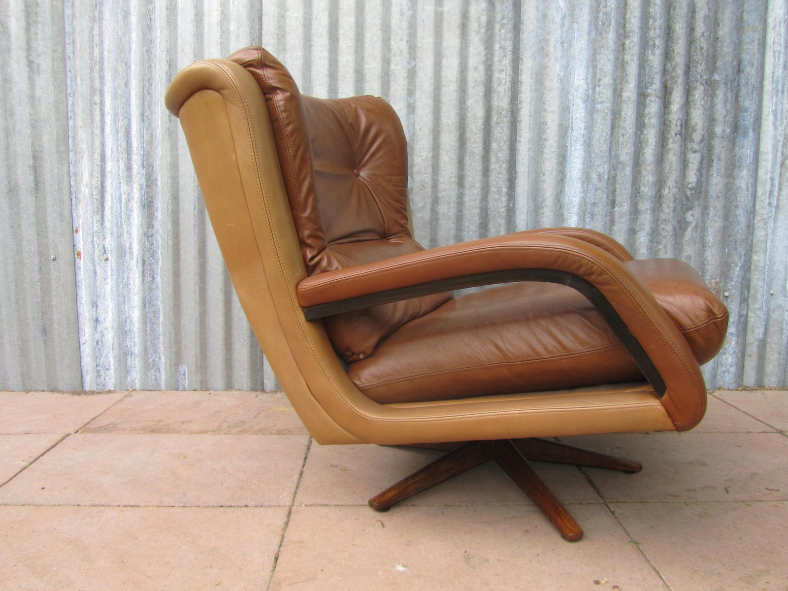 vintage twotone leather lounge chair 1960s - Leather Lounge Chair