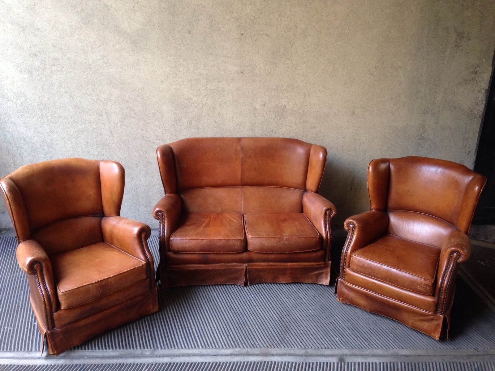 Leather Living Room Set 1950s For Sale At Pamono