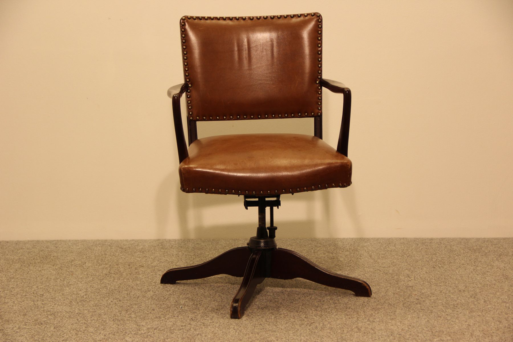 vintage leather office chair 1930s antique leather office chair