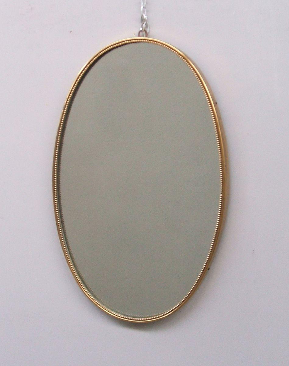 ovaler italienischer mid century spiegel mit messing rahmen 1950er bei pamono kaufen. Black Bedroom Furniture Sets. Home Design Ideas