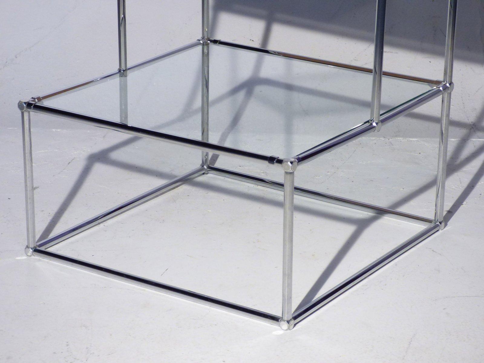vintage regal aus metall und glas mit leuchtkasten bei. Black Bedroom Furniture Sets. Home Design Ideas