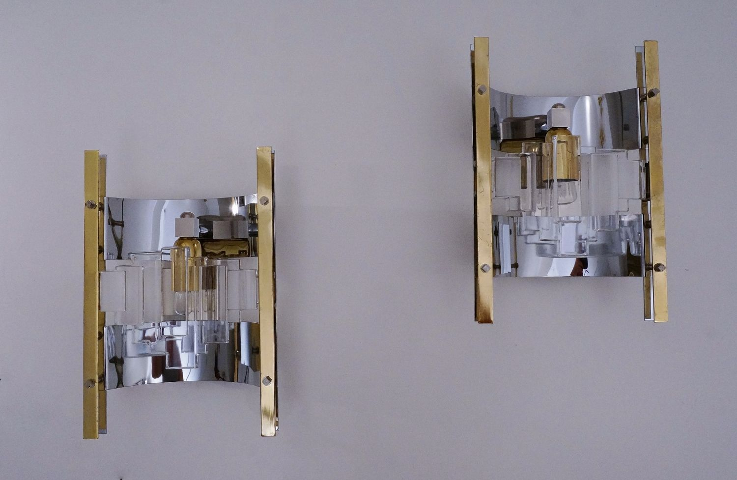 Italian Brass, Chrome and Glass Wall Lights by Gaetano Sciolari, 1970s, Set of 2 for sale at Pamono