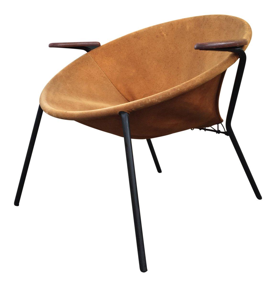 D nischer ballon stuhl aus teak und hellbraunem wildleder for Stuhl wildleder