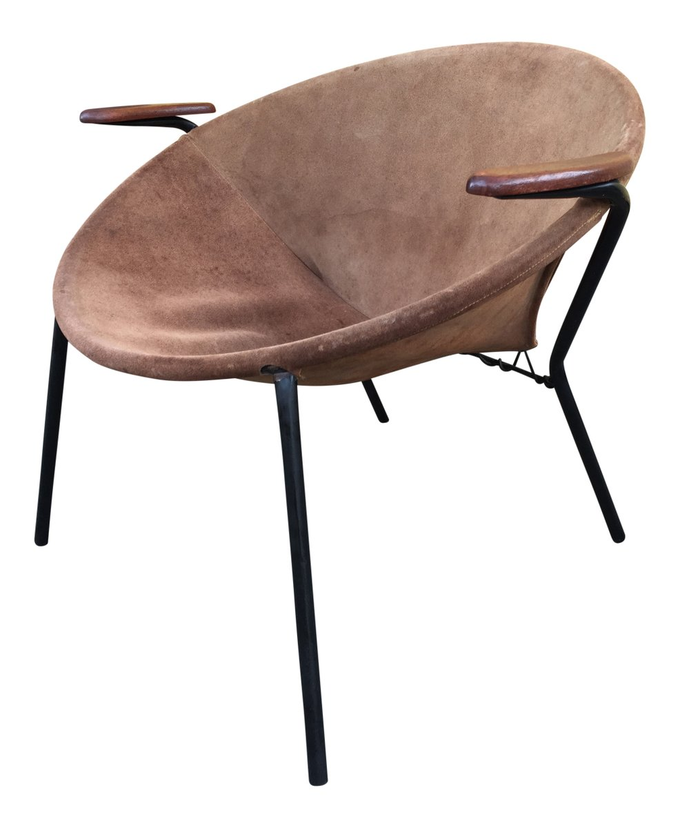 Danish Balloon Teak And Suede Chair By Hans Olsen For Lea