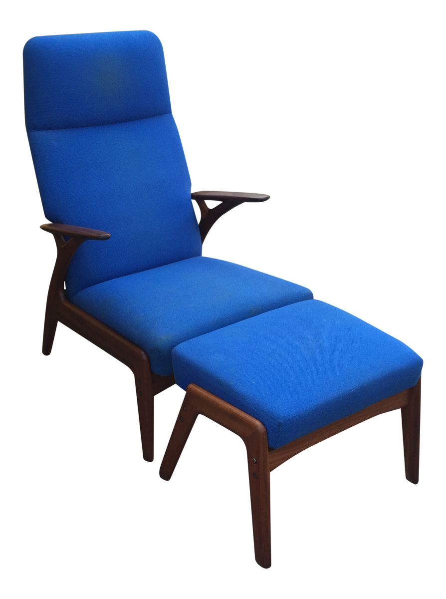d nischer teak stuhl mit ottoman von gorm m bler 1960er. Black Bedroom Furniture Sets. Home Design Ideas