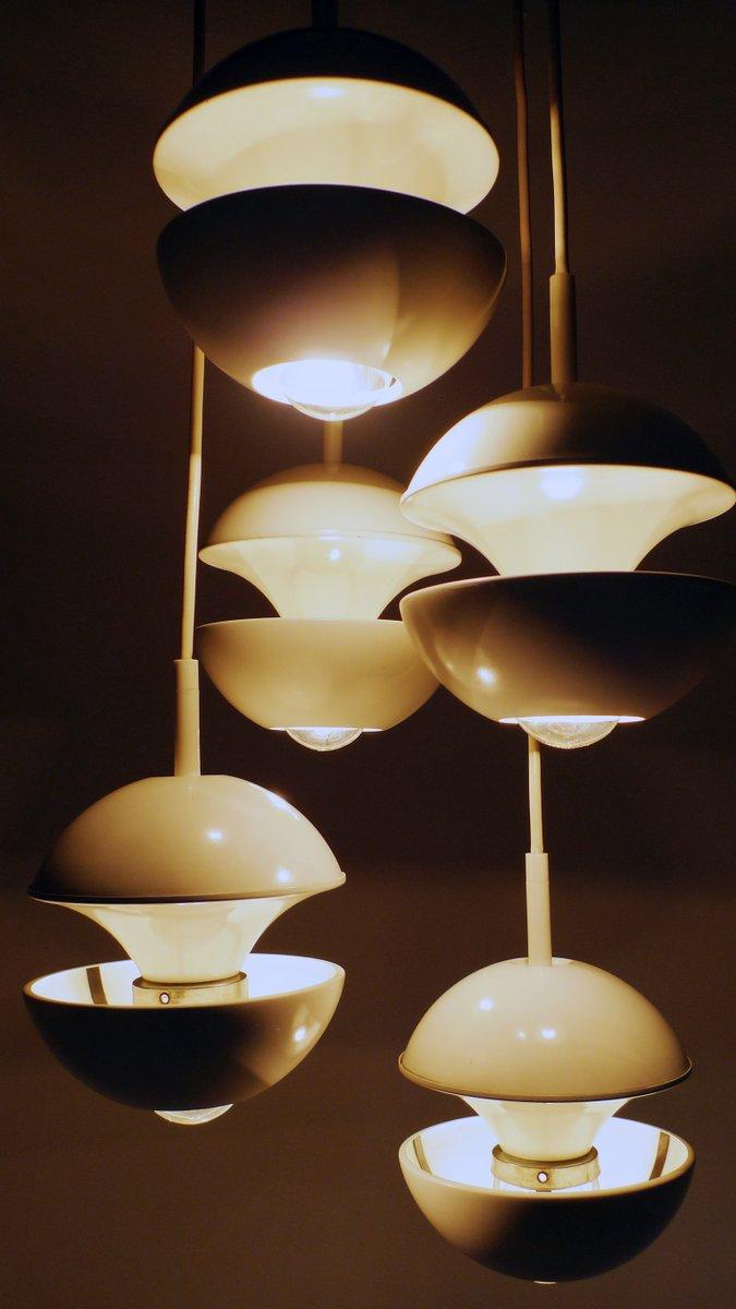 wei e deutsche kaskaden lampe von kaiser leuchten 1960er. Black Bedroom Furniture Sets. Home Design Ideas