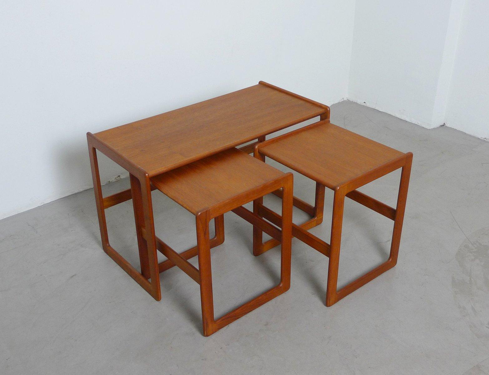 Danish Teak Nesting Tables By Arne Hovmand Olsen For Mogens Kold, 1960s,  Set Of 3 For Sale At Pamono