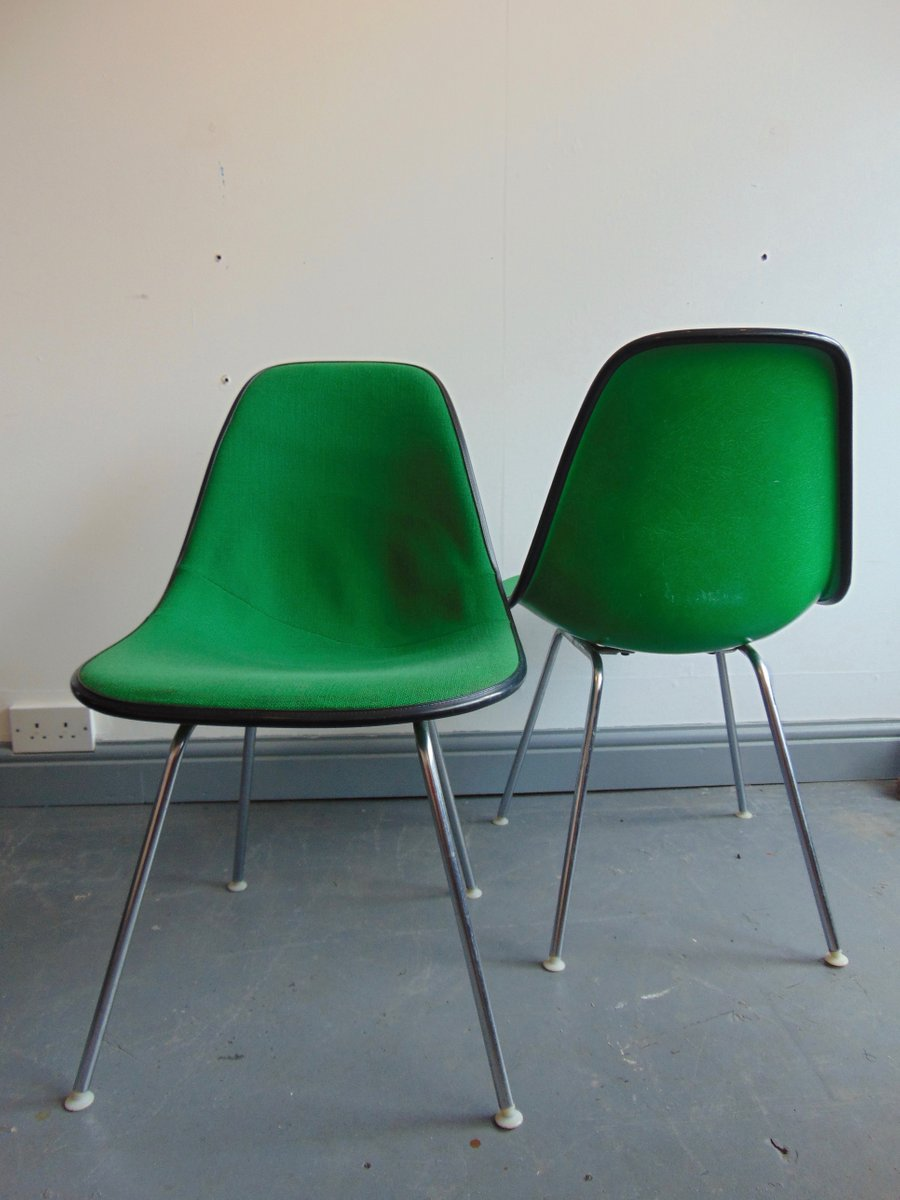 vintage green side chair by charles and ray eames for. Black Bedroom Furniture Sets. Home Design Ideas