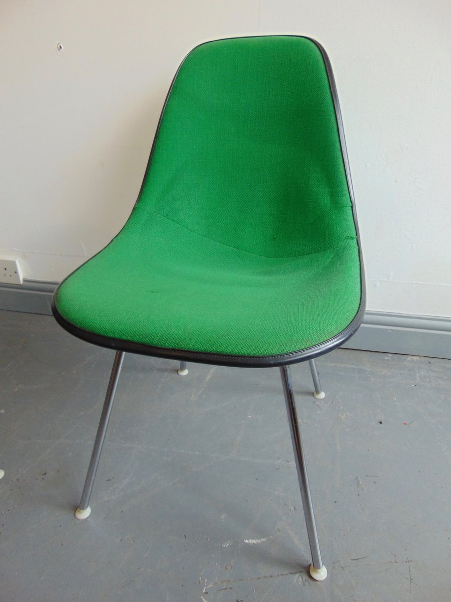 vintage green side chair by charles and ray eames for herman miller for sale at pamono. Black Bedroom Furniture Sets. Home Design Ideas