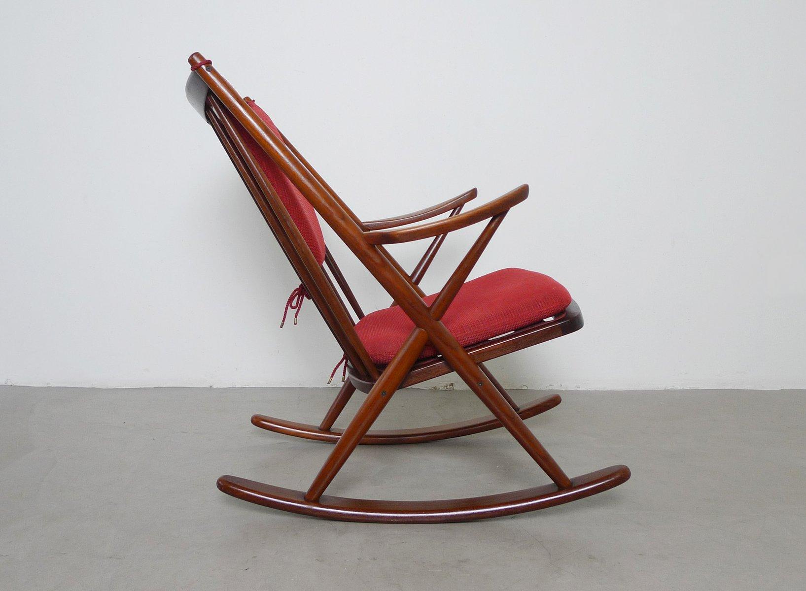 Mid Century Teak Rocking Chair by Frank Reenskaug for Bramin for