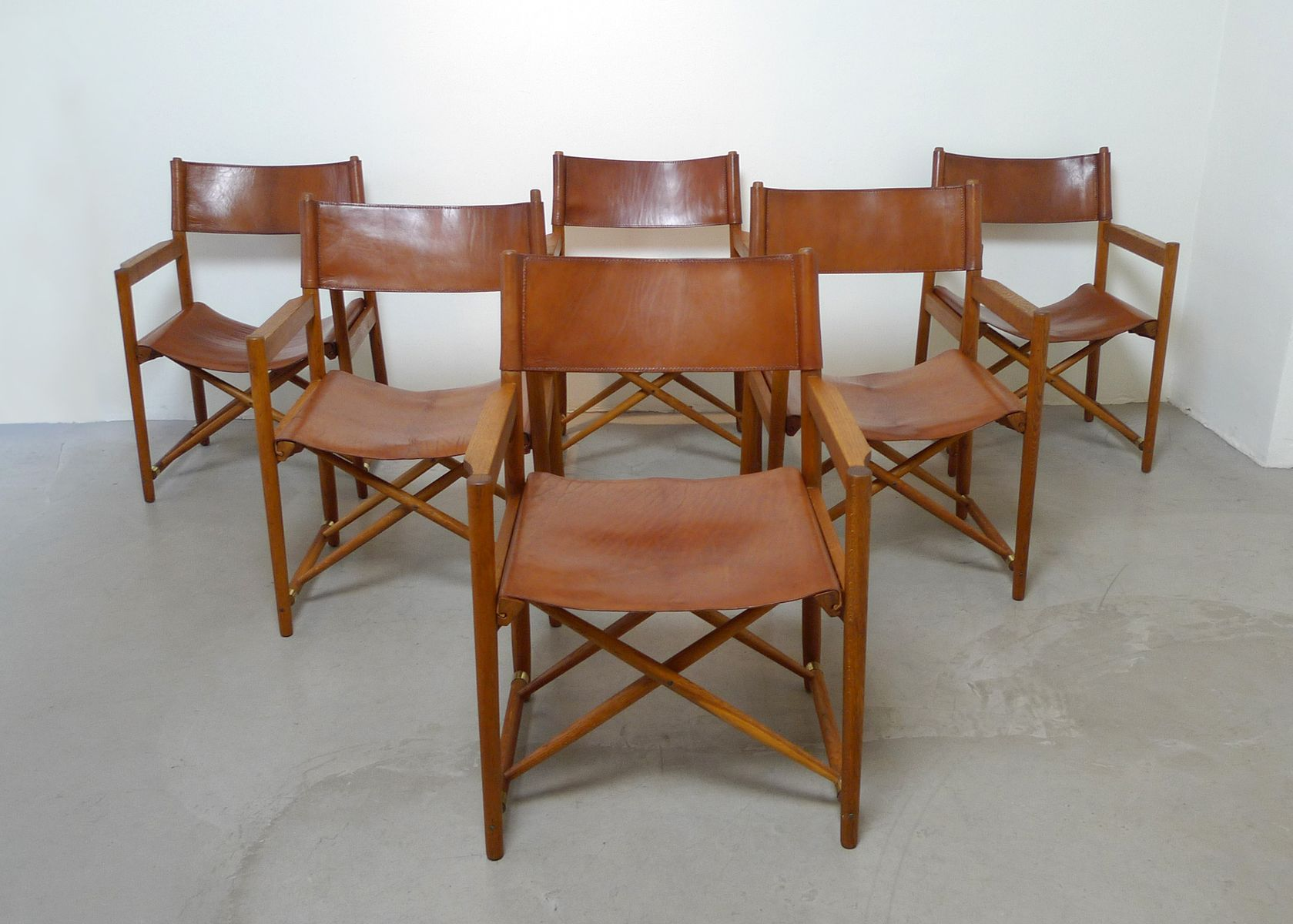 Mid Century Danish Folding Safari Style Chairs Set of 6 for sale
