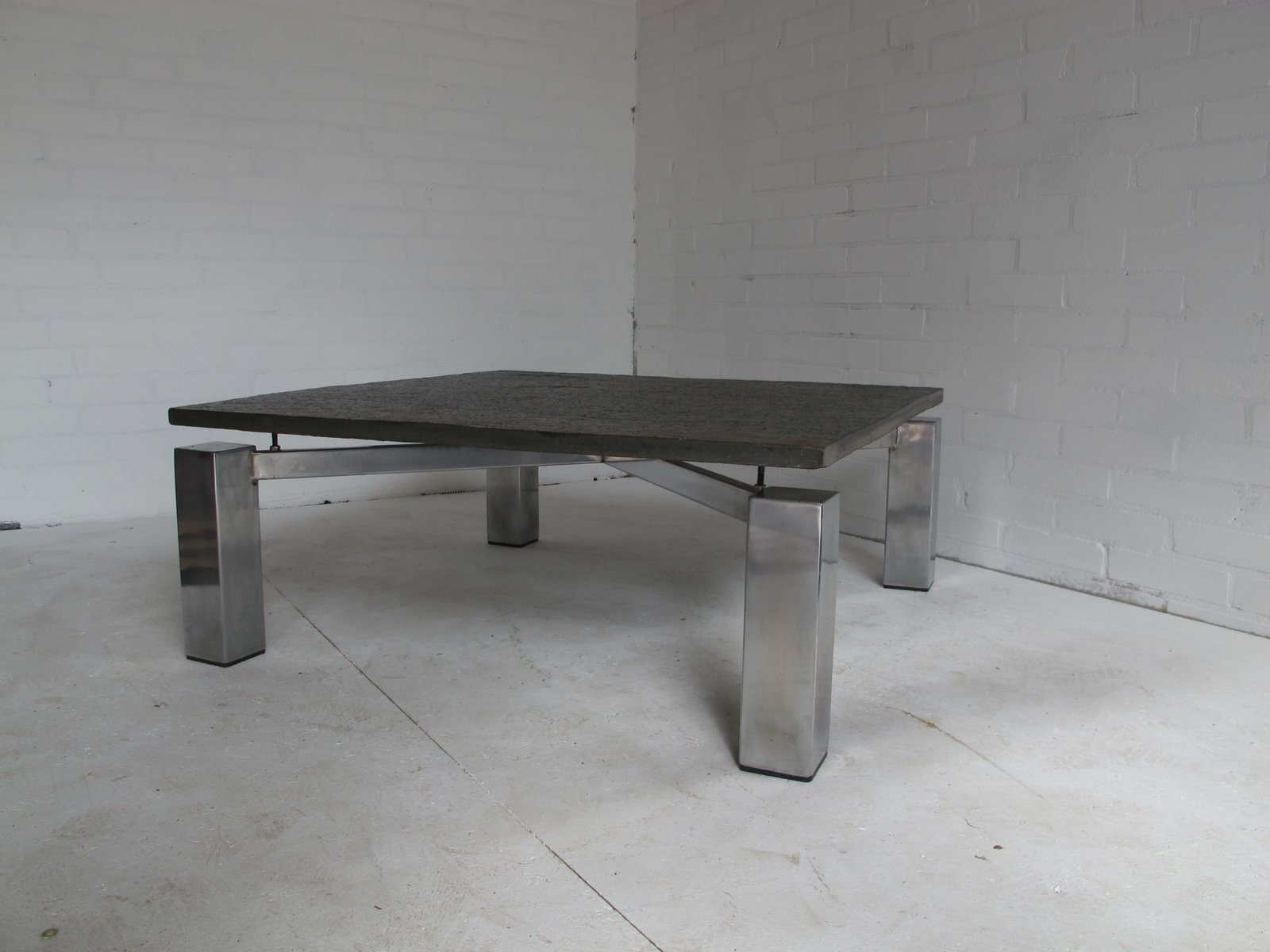 Square vintage steel coffee table with stone top for sale for Metal coffee table with stone top