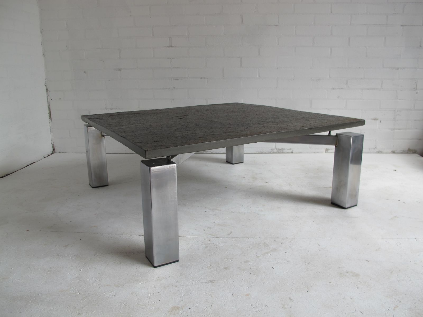Square vintage steel coffee table with stone top for sale at pamono Metal square coffee table