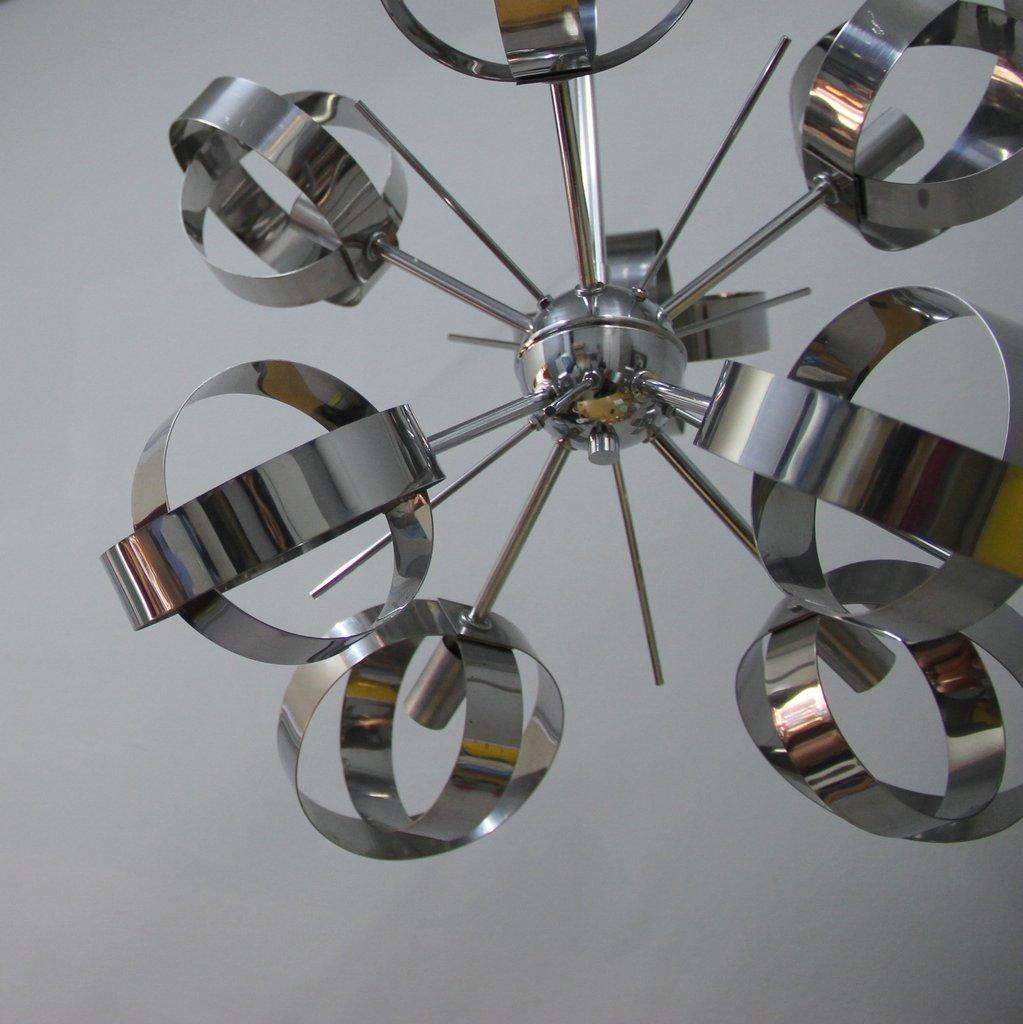 vintage sputnik h ngeleuchte aus stahl mit 8 lichtern bei pamono kaufen. Black Bedroom Furniture Sets. Home Design Ideas
