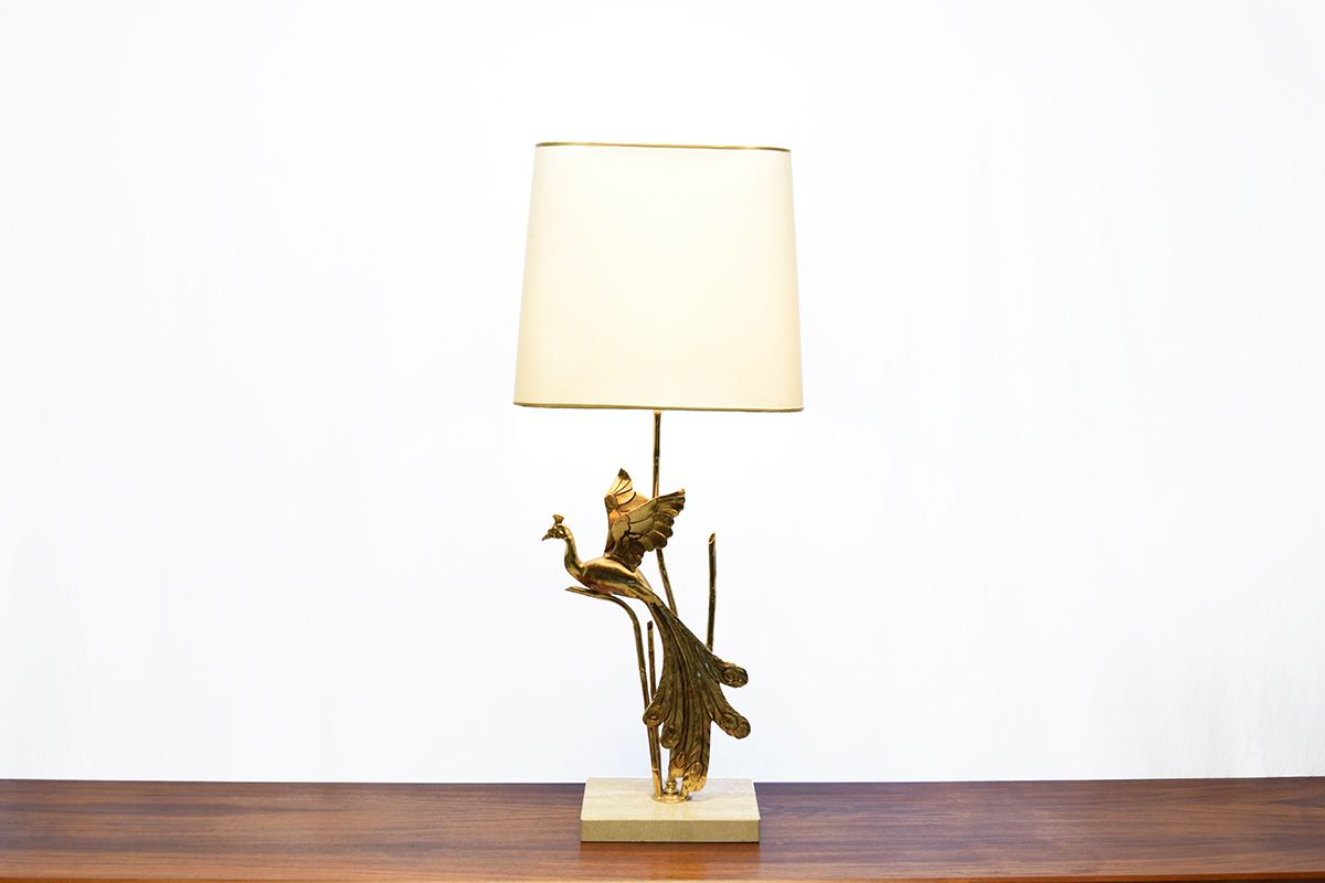 vintage travertin tischlampe mit messing vogel bei pamono. Black Bedroom Furniture Sets. Home Design Ideas