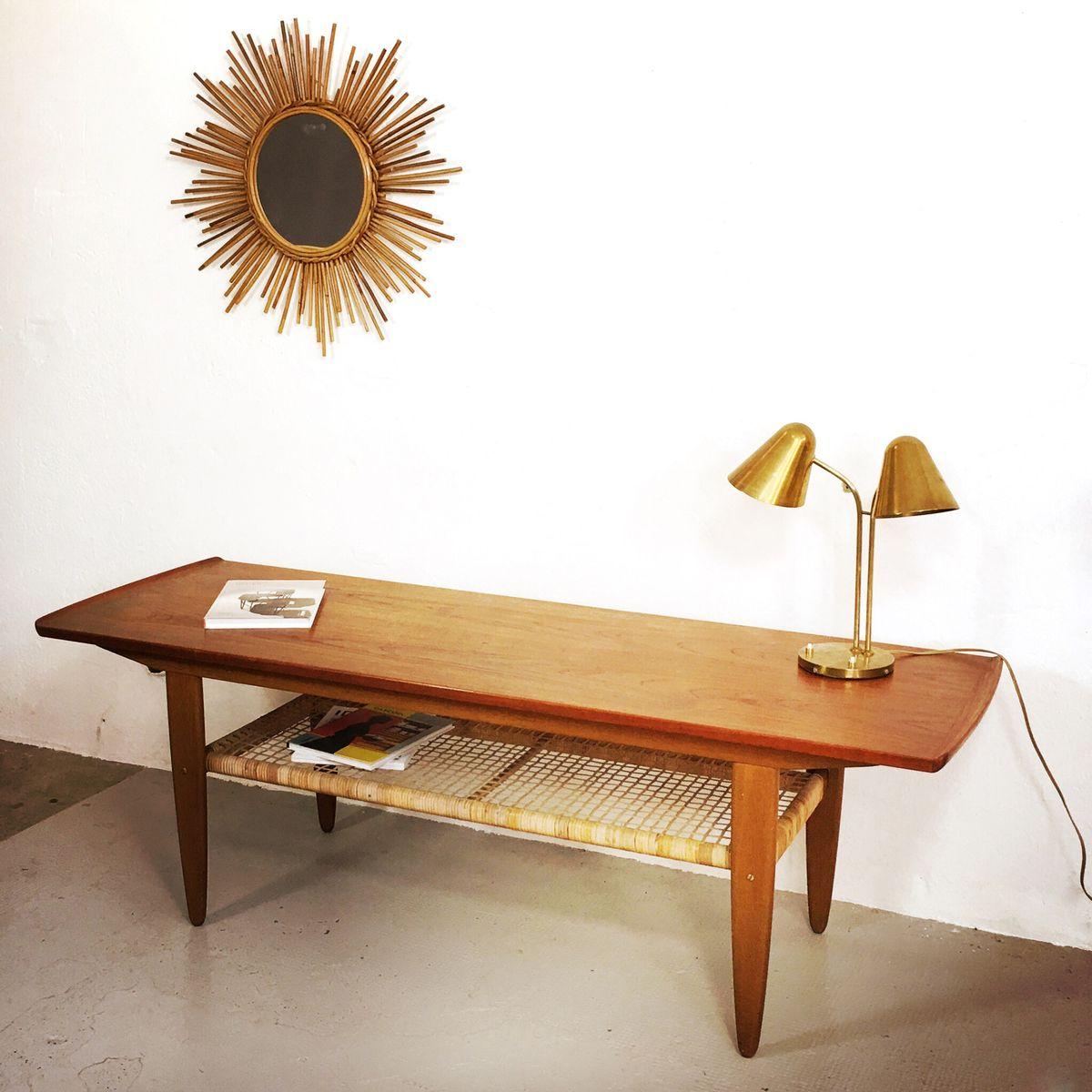 Coffee Table Rattan Long Danish Teak And Rattan Coffee Table For Sale At Pamono