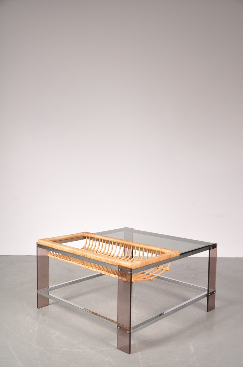 Dutch chrome smoked glass and rattan coffee table 1970s for dutch chrome smoked glass and rattan coffee table 1970s geotapseo Images