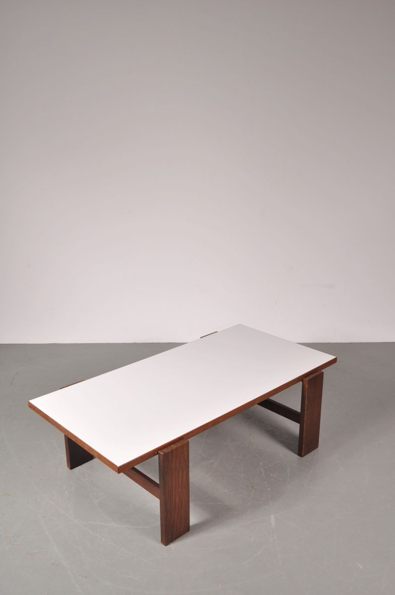 Dutch weng coffee table with reversable white laminated top by cees braakman for pastoe 1960s Wenge coffee tables