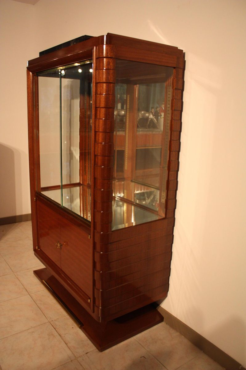 art d co vitrine by gaston poisson 1940s for sale at pamono. Black Bedroom Furniture Sets. Home Design Ideas