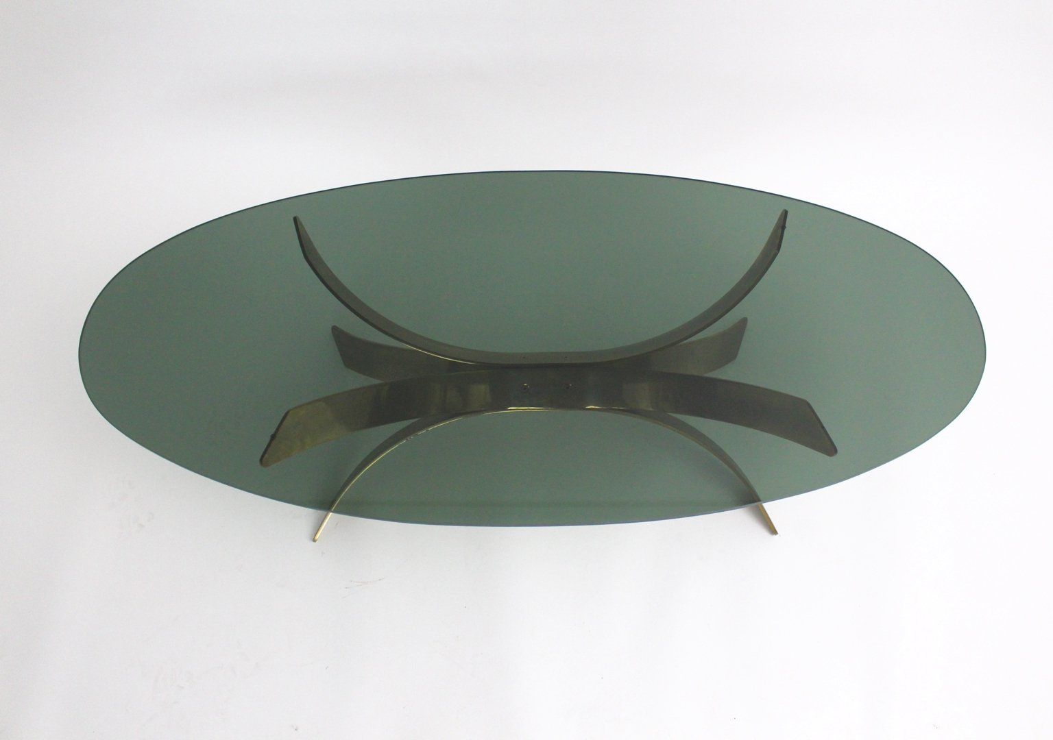 Antique Brass Glass Coffee Table Vintage Oval Brass Glass Coffee Table For Sale At Pamono
