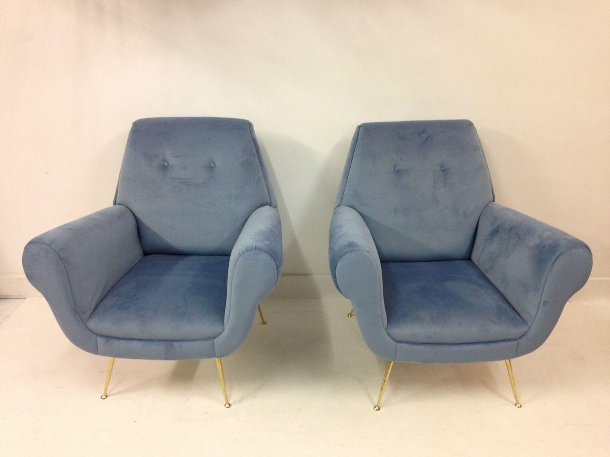 italienische mid century clubsessel mit samtbezug 2er set bei pamono kaufen. Black Bedroom Furniture Sets. Home Design Ideas