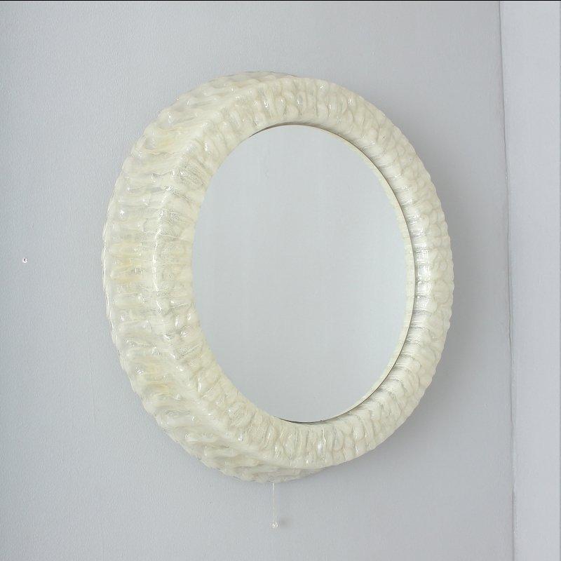 runder wei er plastik spiegel mit beleuchtung 1950er bei pamono kaufen. Black Bedroom Furniture Sets. Home Design Ideas