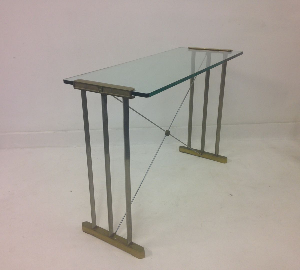vintage brass  steel console table by peter ghyczy for sale at pamono - vintage brass  steel console table by peter ghyczy