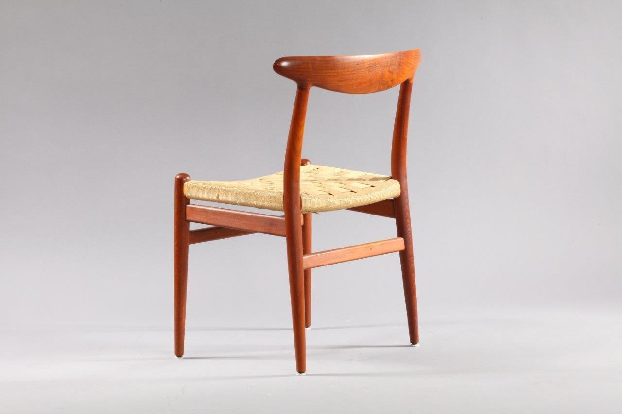 Danish Model W2 Teak Dining Chairs by Hans Wegner for CM Madsen