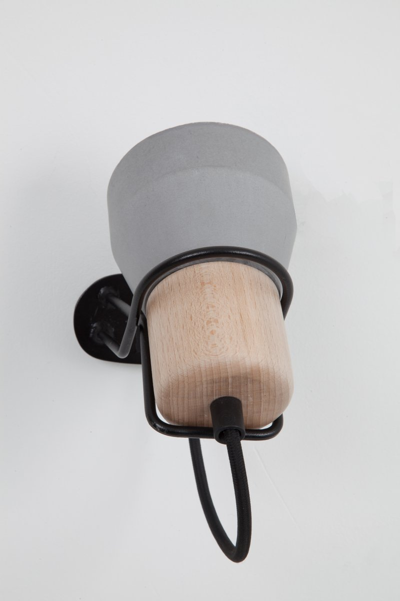 Cement Wood Wall Lamp by Decha Archjananun for sale at Pamono