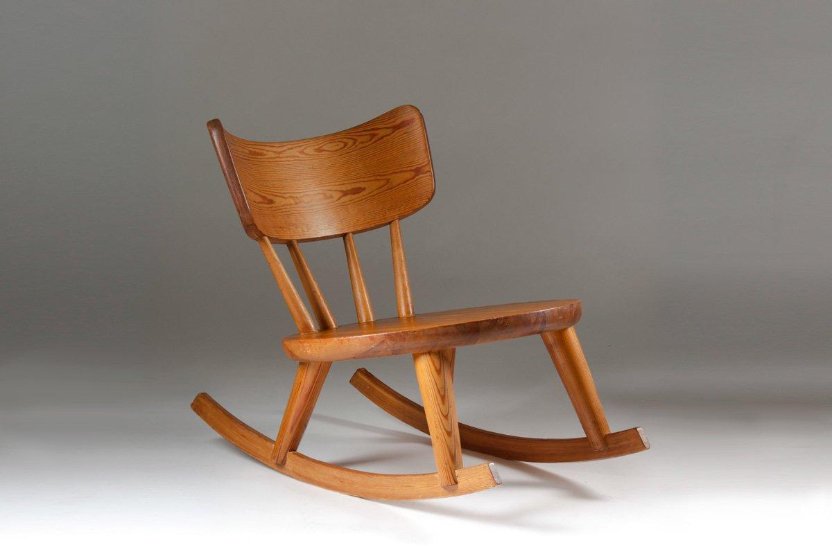 swedish pine wood rocking chair 1940s