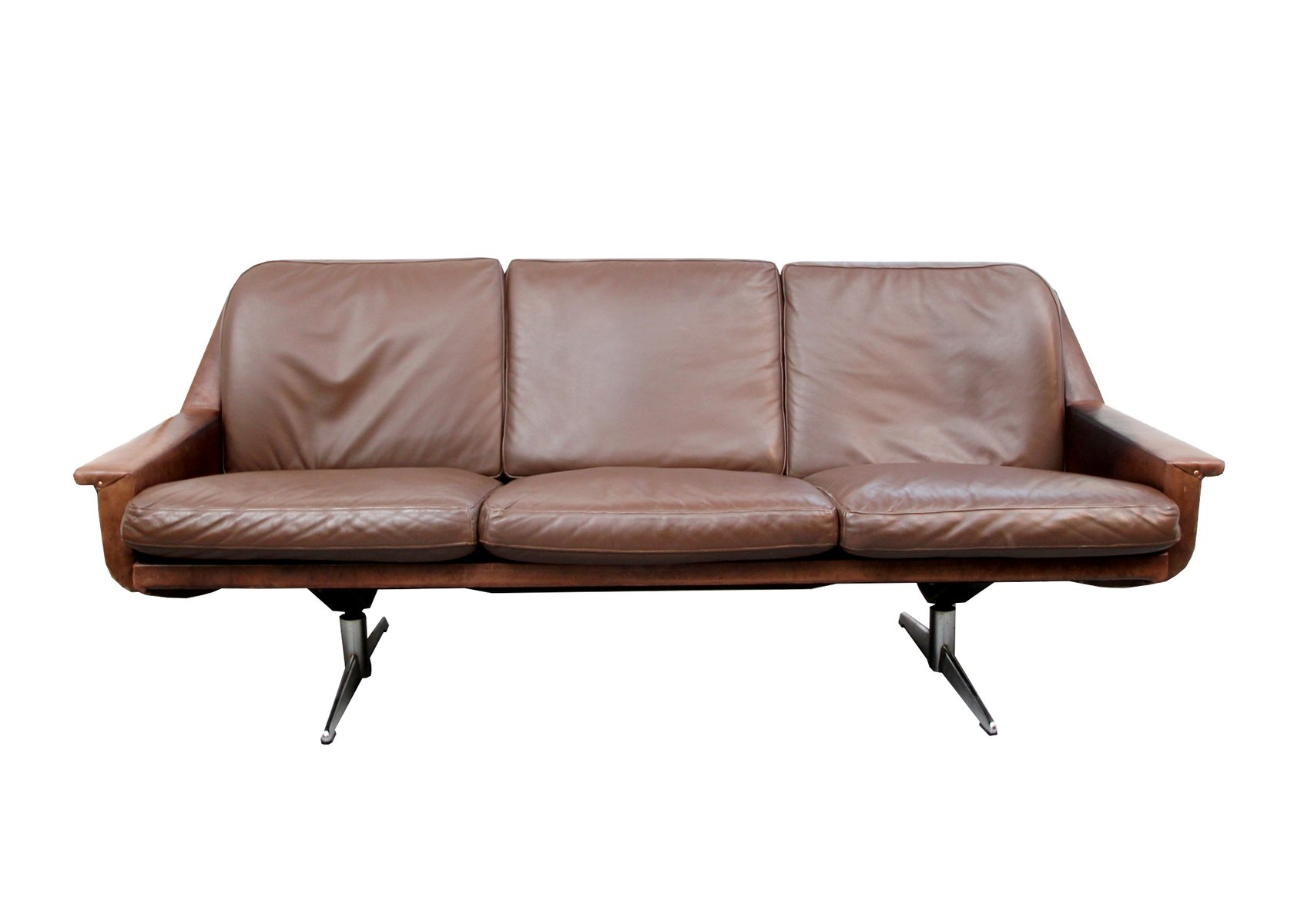 Vintage german leather three seater sofa for sale at pamono for Sofa 7 seater
