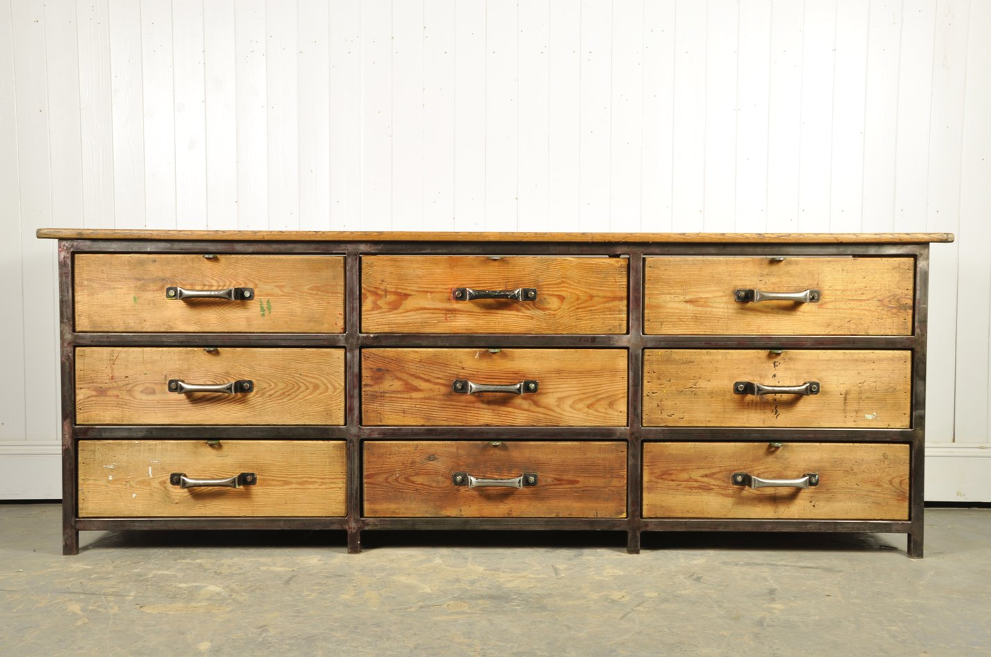industrial french mid century wood metal sideboard for. Black Bedroom Furniture Sets. Home Design Ideas