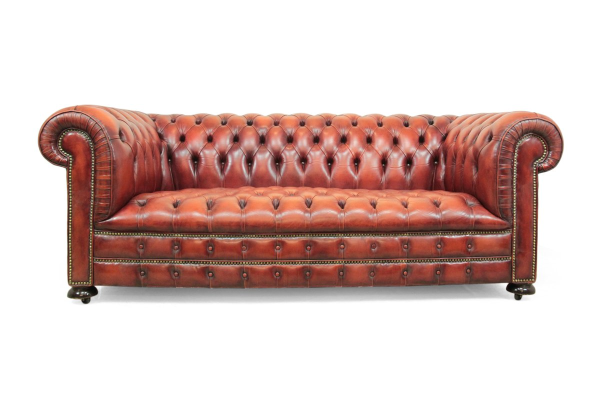 Canap chesterfield en cuir rouge 1980s en vente sur pamono for Canape chesterfield cuir