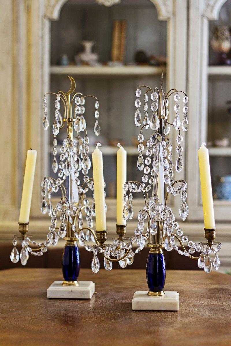 Russischer kerzenhalter aus glas messing marmor 2er for Kerzenhalter aus glas