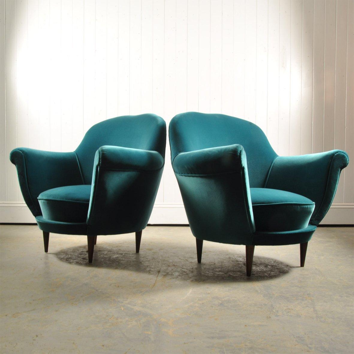 fauteuils club turquoise en velours italie 1950s set de 2 en vente sur pamono. Black Bedroom Furniture Sets. Home Design Ideas