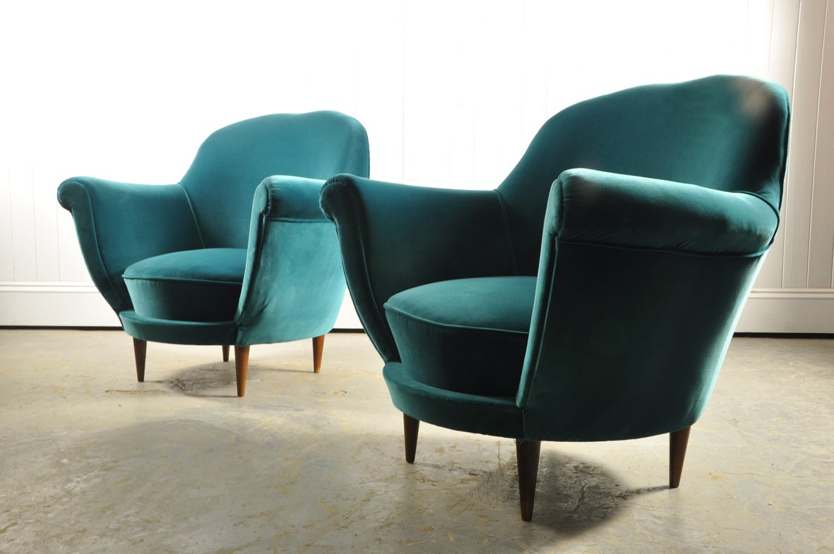 fauteuils club turquoise en velours italie 1950s set de 2 en vente sur pamono. Black Bedroom Furniture Sets. Home Design Ideas
