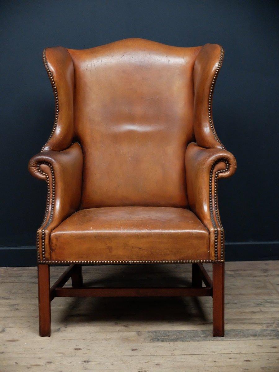 englischer hellbrauner ledersessel 1920 bei pamono kaufen. Black Bedroom Furniture Sets. Home Design Ideas