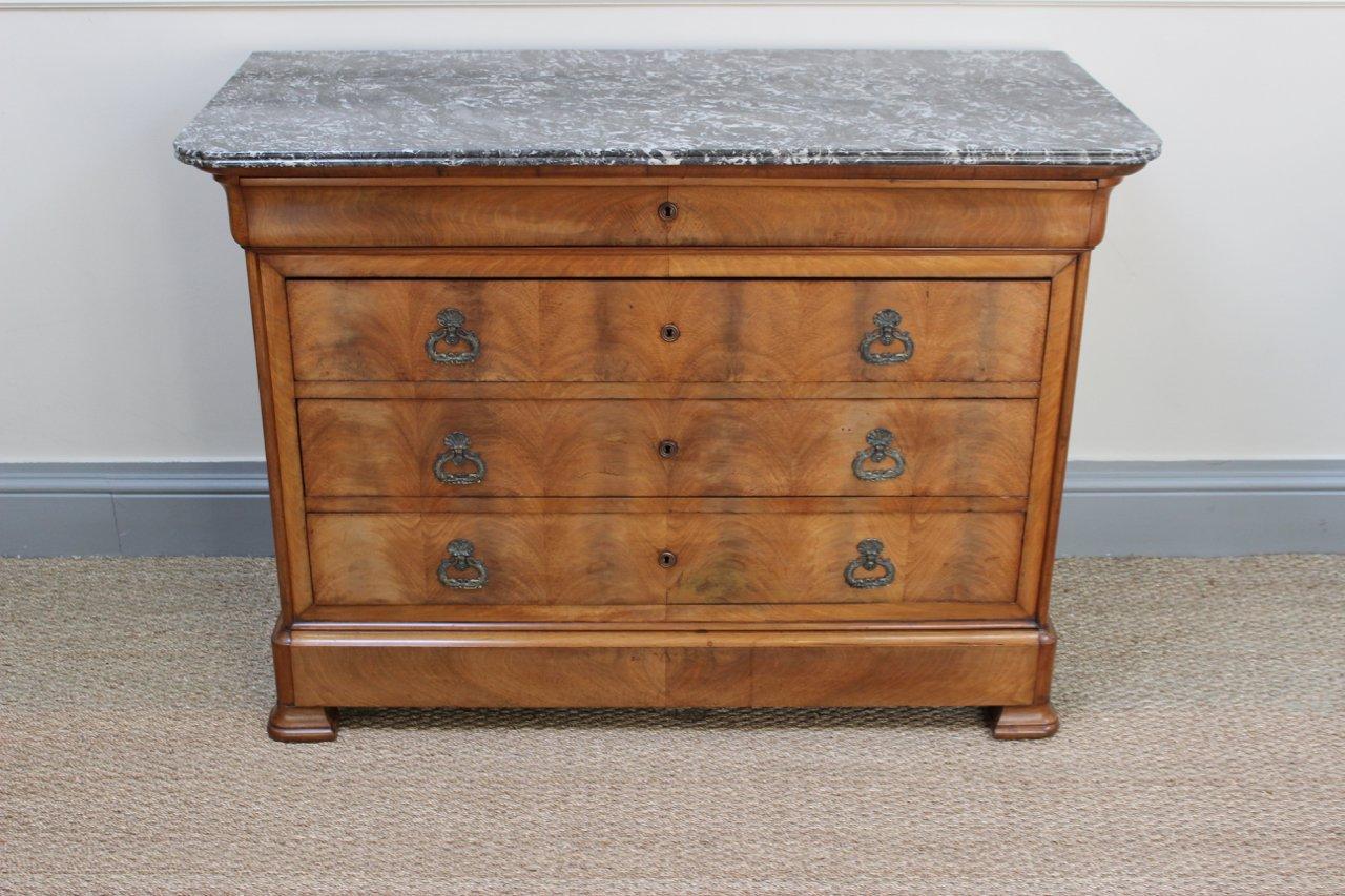 commode antique en m risier avec dessus en marbre france en vente sur pamono. Black Bedroom Furniture Sets. Home Design Ideas