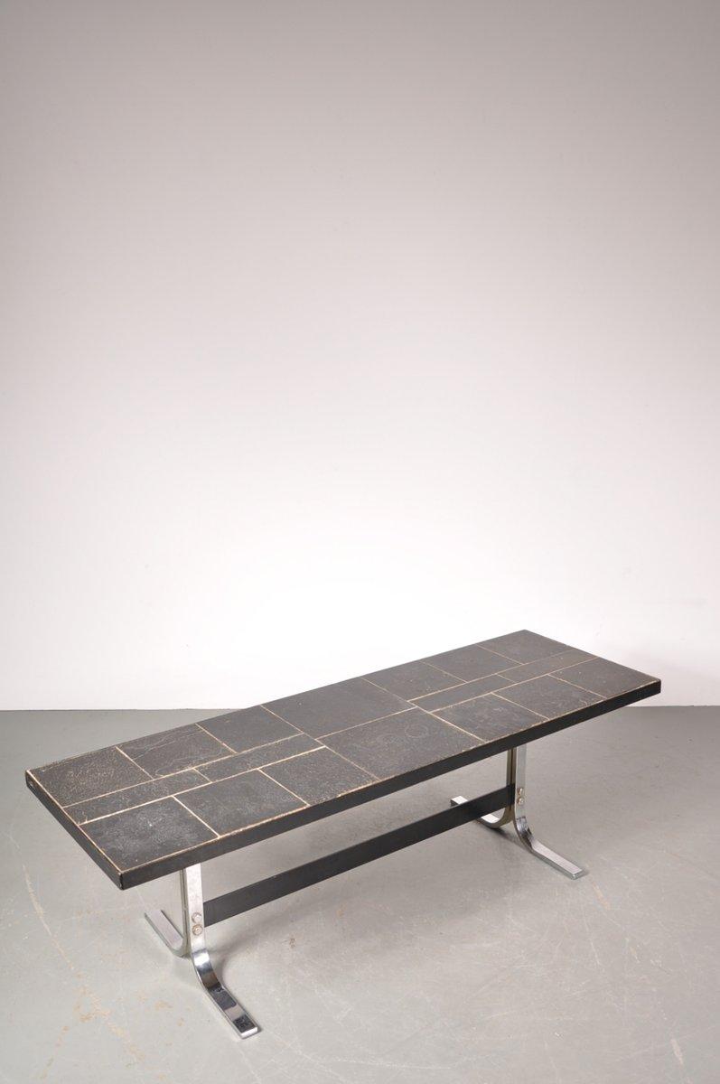 rechteckiger couchtisch aus chrom schieferplatte 1960er. Black Bedroom Furniture Sets. Home Design Ideas