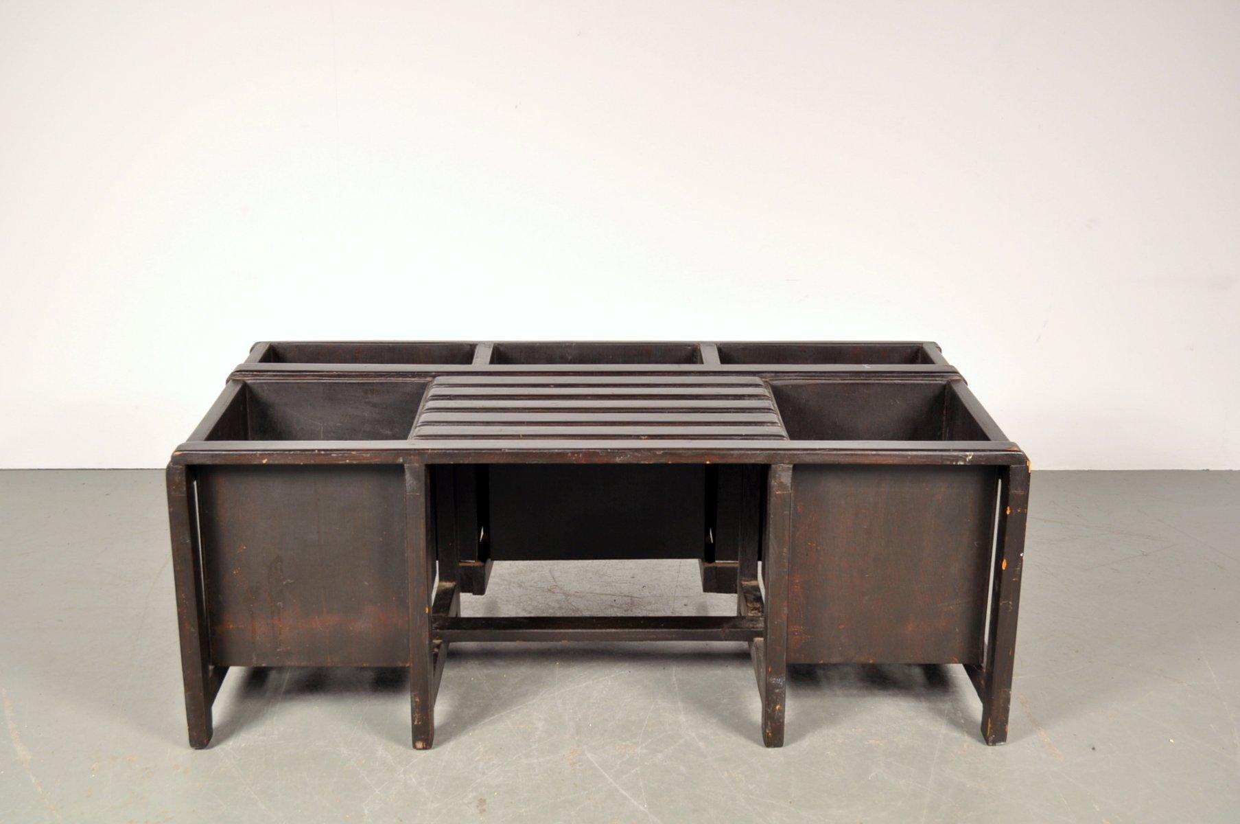 schwarz gef rbte holzbank mit stauraum 1950er bei pamono. Black Bedroom Furniture Sets. Home Design Ideas