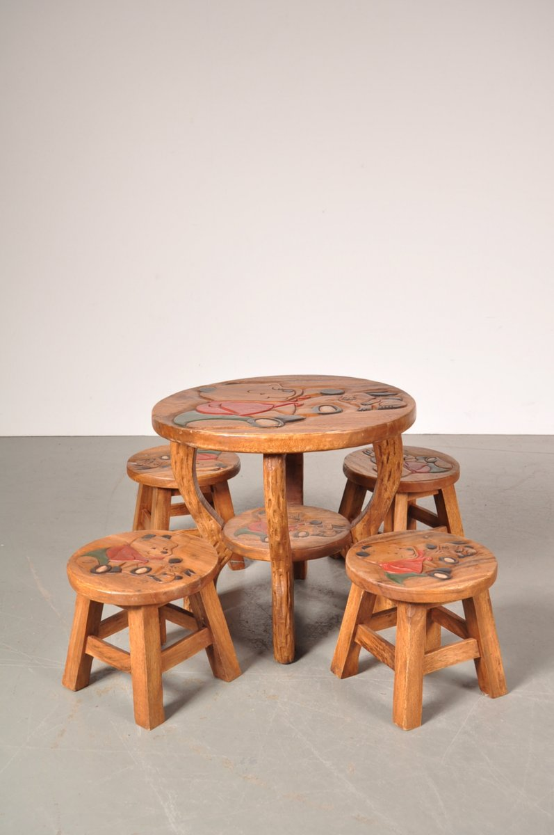 Superior Oak Winnie The Pooh Childrenu0027s Table U0026 Stools, 1950s
