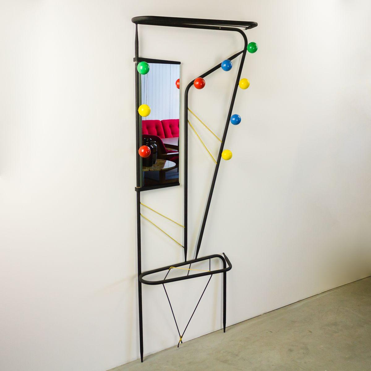 franz sische metall garderobe mit spiegel 1950er bei. Black Bedroom Furniture Sets. Home Design Ideas