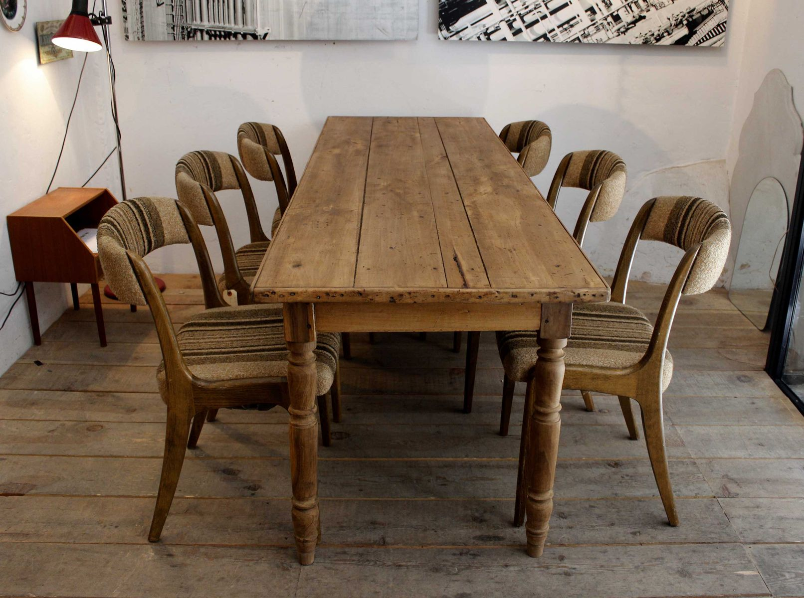 Pine farmhouse table for sale at pamono - Mobiliario industrial vintage ...